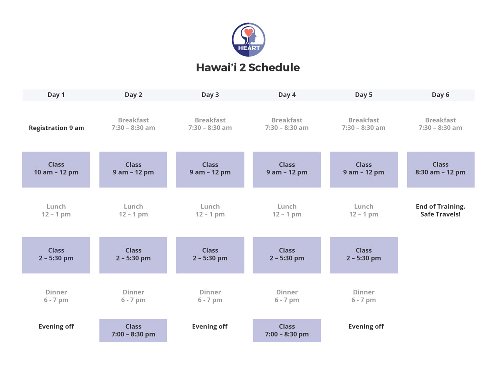 Heartraining schedule Hawai'i 2